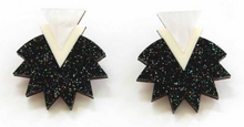 Load image into Gallery viewer, Starburst Earrings - Black Glitter