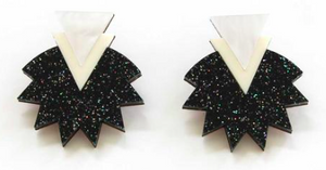 Starburst Earrings - Black Glitter