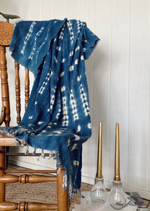 Vintage African Indigo Throw - Gold Thread