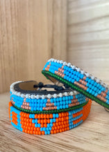 Load image into Gallery viewer, Kenyan Bead Bracelet - Piramidi Turqu/Pink