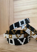 Load image into Gallery viewer, Kenyan Bead Bracelet - LOVE White/Gold