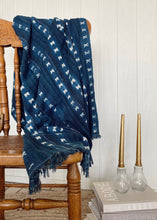 Load image into Gallery viewer, Vintage African Indigo Throw - Green Stripe