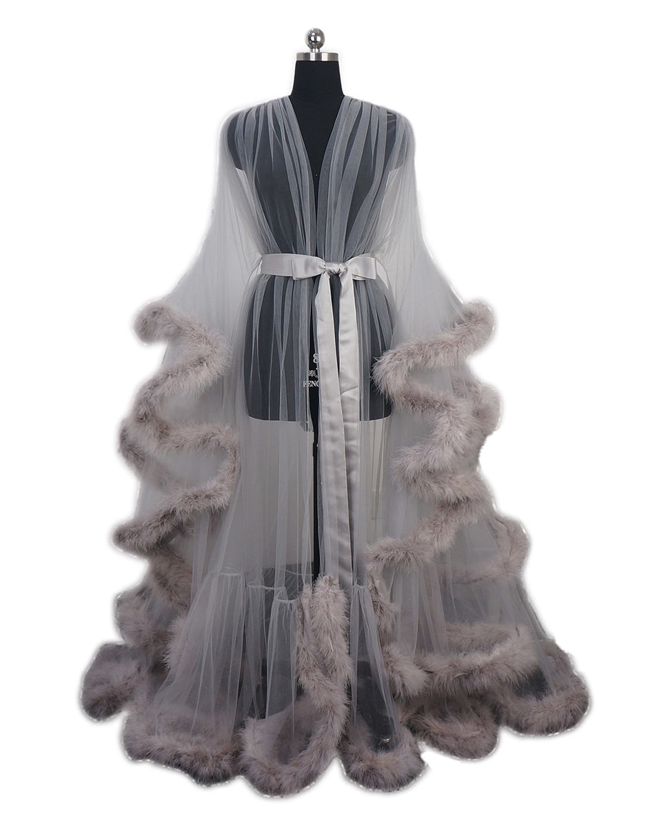 100% genuine the cheapest limited price Gypsy Rose Boudoir Burlesque Feather Robe - Grey