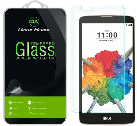 [2-Pack] LG Stylo 2 Plus Screen Protector, Dmax Armor® [Tempered Glass] 9H Hardness, Anti-Scratch, Anti-Fingerprint, Bubble Free, Ultra-clear - [ Lifetime Warranty]