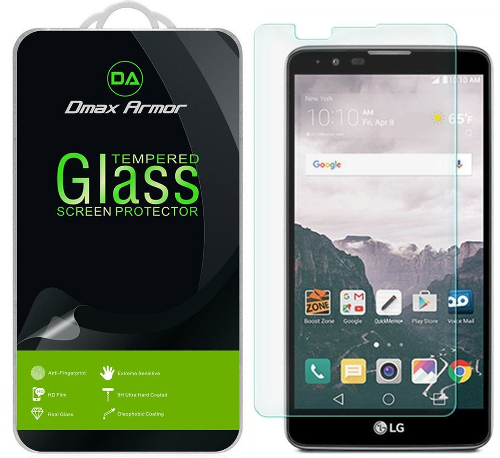 LG Stylo 2 Screen Protector, Dmax Armor® [Tempered Glass] Ballistics Glass, 0.3mm 9H Hardness, Anti-Scratch, Anti-Fingerprint, Bubble Free, Ultra-clear - [ Lifetime Warranty]