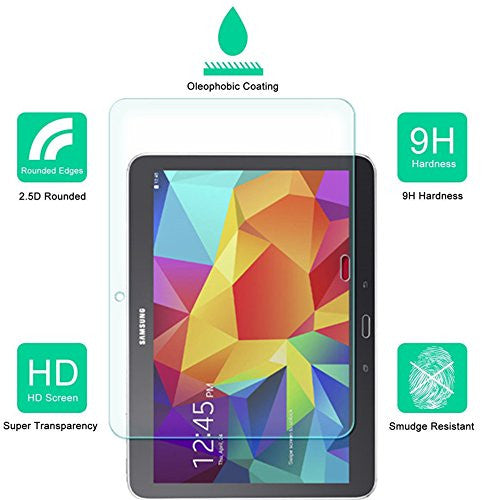 Samsung Galaxy Tab 4 10.1 Inch Screen Protector, Dmax Armor® [Tempered Glass] 99% Touch-screen Accurate, Anti-Scratch, Anti-Fingerprint, Round Edge [0.3mm] [ Lifetime Warranty]