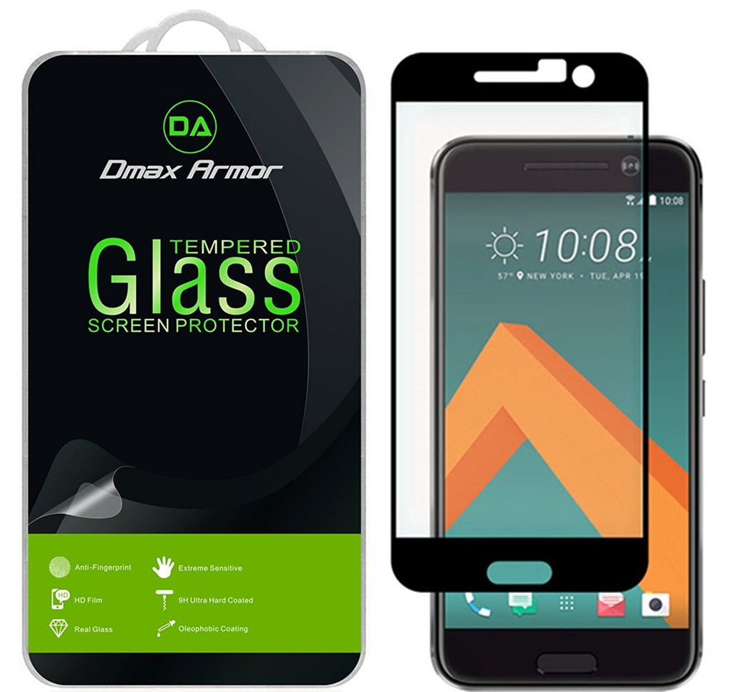 HTC 10 ( One 10 / M10 ) Glass Screen Protector, [Full Screen Coverage] Dmax Armor® [Tempered Glass] Anti-Scratch, Anti-Fingerprint, Bubble Free, (Black)