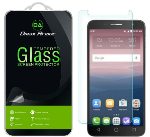 [2-Pack] Alcatel Onetouch Allura Screen Protector, Dmax Armor® [Tempered Glass] 9H Hardness, Anti-Scratch, Anti-Fingerprint, Bubble Free, Ultra-clear - [ Lifetime Warranty]