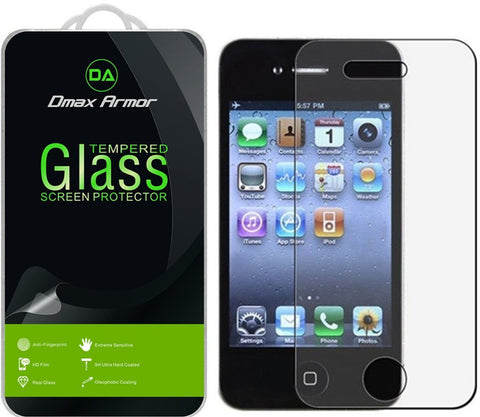 [2-Pack] Apple iPhone 4 / 4S Screen Protector, Dmax Armor [Tempered Glass] 0.3mm 9H Hardness, Anti-Scratch, Anti-Fingerprint, Bubble Free, Ultra-clear - [Lifetime Warranty]