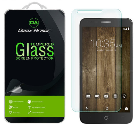 [2-Pack] Alcatel Fierce 4 Screen Protector, Dmax Armor [Tempered Glass] 0.3mm 9H Hardness, Anti-Scratch, Anti-Fingerprint, Bubble Free, Ultra-clear
