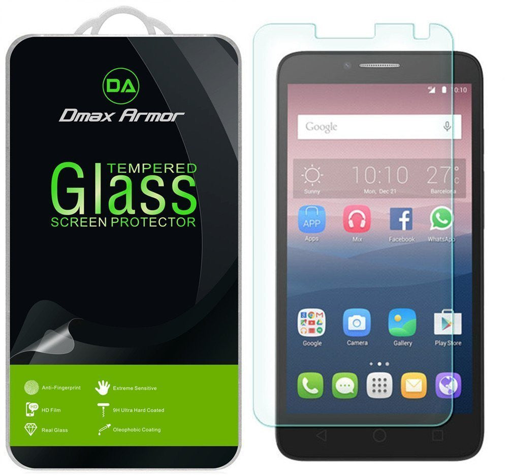 [2-Pack] Alcatel OneTouch PIXI Glory LTE A621BG Screen Protector, Dmax Armor® [Tempered Glass] 0.3mm 9H Hardness, Anti-Scratch, Anti-Fingerprint, Bubble Free, Ultra-clear - [ Lifetime Warranty]