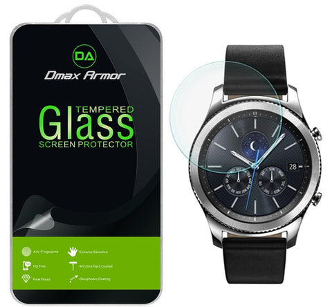 [2-Pack] Samsung Gear S3 Classic Screen Protector, Dmax Armor [Tempered Glass] 0.3mm 9H Hardness, Anti-Scratch, Anti-Fingerprint, Bubble Free, Ultra-clear