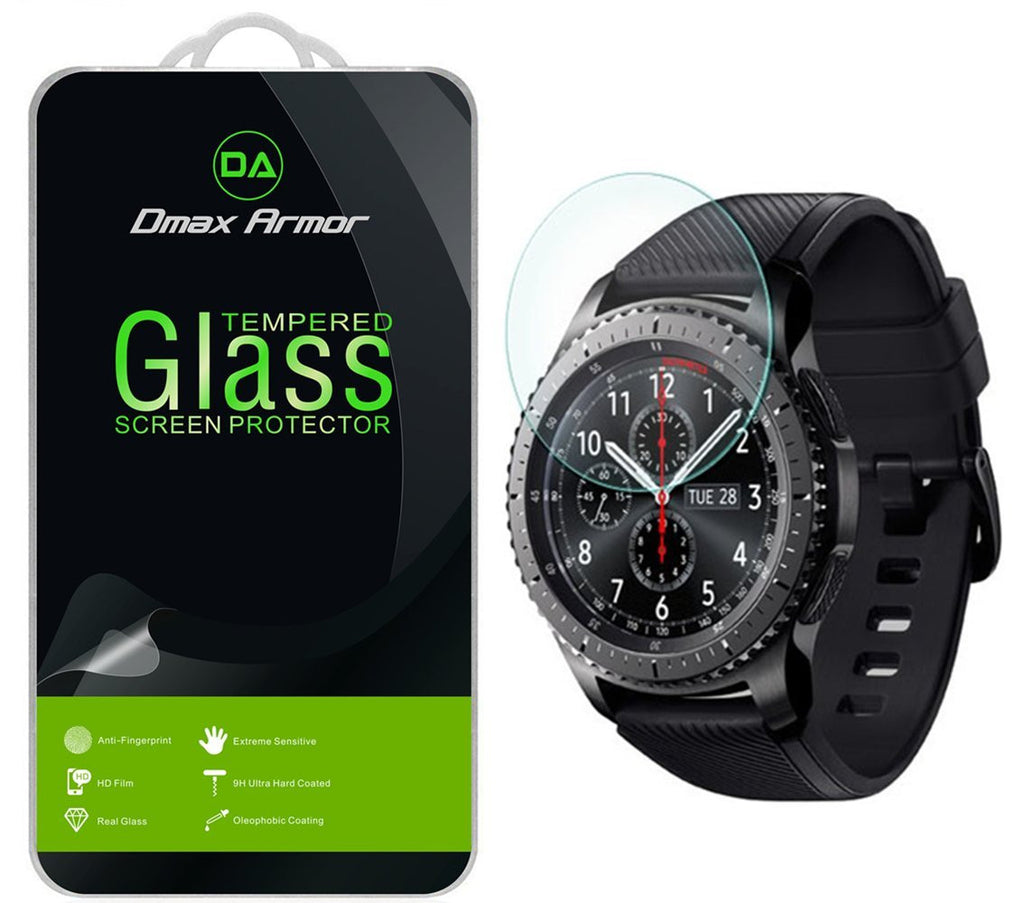 [2-Pack] Samsung Gear S3 Frontier Screen Protector, Dmax Armor [Tempered Glass] 0.3mm 9H Hardness, Anti-Scratch, Anti-Fingerprint, Bubble Free, Ultra-clear