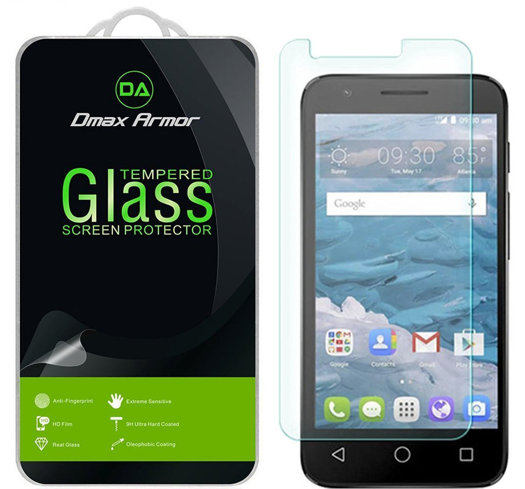 [2-Pack] Alcatel Ideal Screen Protector, Dmax Armor® [Tempered Glass] 0.3mm 9H Hardness, Anti-Scratch, Anti-Fingerprint, Bubble Free, Ultra-clear - [ Lifetime Warranty]