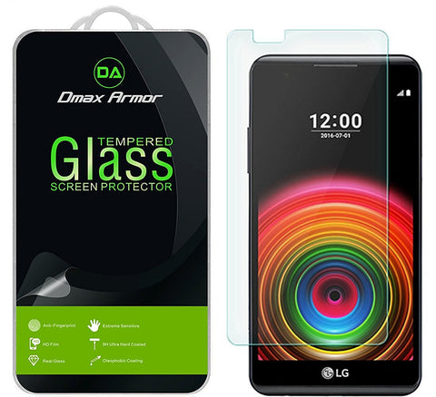 [2-Pack] LG X Power Screen Protector, Dmax Armor [Tempered Glass] 0.3mm 9H Hardness, Anti-Scratch, Anti-Fingerprint, Bubble Free, Ultra-clear