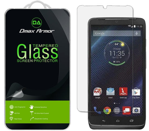 [2-Pack] Motorola DROID Turbo Screen Protector, Dmax Armor® [Tempered Glass] 9H Hardness, Anti-Scratch, Anti-Fingerprint, Bubble Free, Ultra-clear - [ Lifetime Warranty]