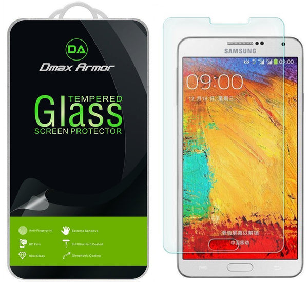 [2-Pack] Samsung Galaxy Note 3 Screen Protector, Dmax Armor® [Tempered Glass] 9H Hardness, Anti-Scratch, Anti-Fingerprint, Bubble Free, Ultra-clear - [ Lifetime Warranty]