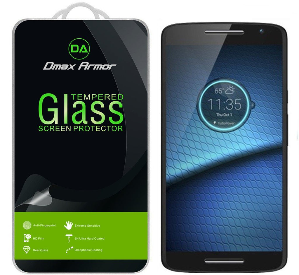 Motorola Droid Maxx 2 Glass Screen Protector, Dmax Armor® [Tempered Glass] Ballistics Glass, 0.2mm 9H Hardness, Anti-Scratch, Anti-Fingerprint, Bubble Free - Retail Packaging