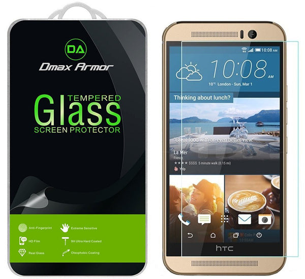 [2-Pack] HTC One M9 Screen Protector, Dmax Armor® [Tempered Glass] Anti-Scratch, Anti-Fingerprint, Bubble Free [0.3mm] Ultra-clear [ Lifetime Warranty]