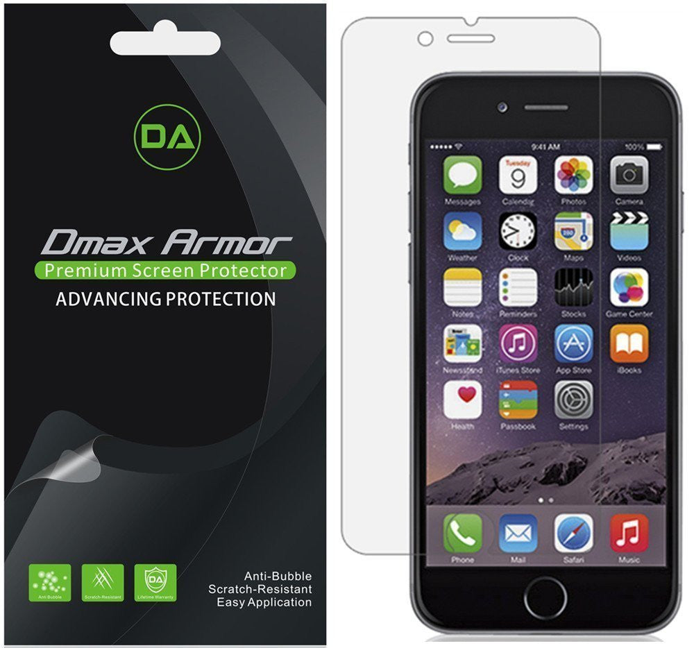 [6-Pack] Dmax Armor® Apple iPhone 7 Plus Screen Protector, Anti-Bubble High Definition Clear Shield - Lifetime Replacements Warranty- Retail Packaging