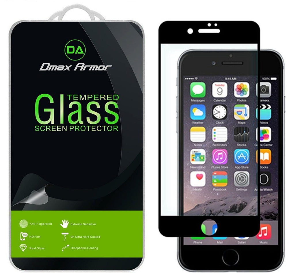 iPhone 7 Plus Glass Screen Protector, [Full Screen Coverage] Dmax Armor® [Tempered Glass] Anti-Scratch, Anti-Fingerprint, Bubble Free, (Black)