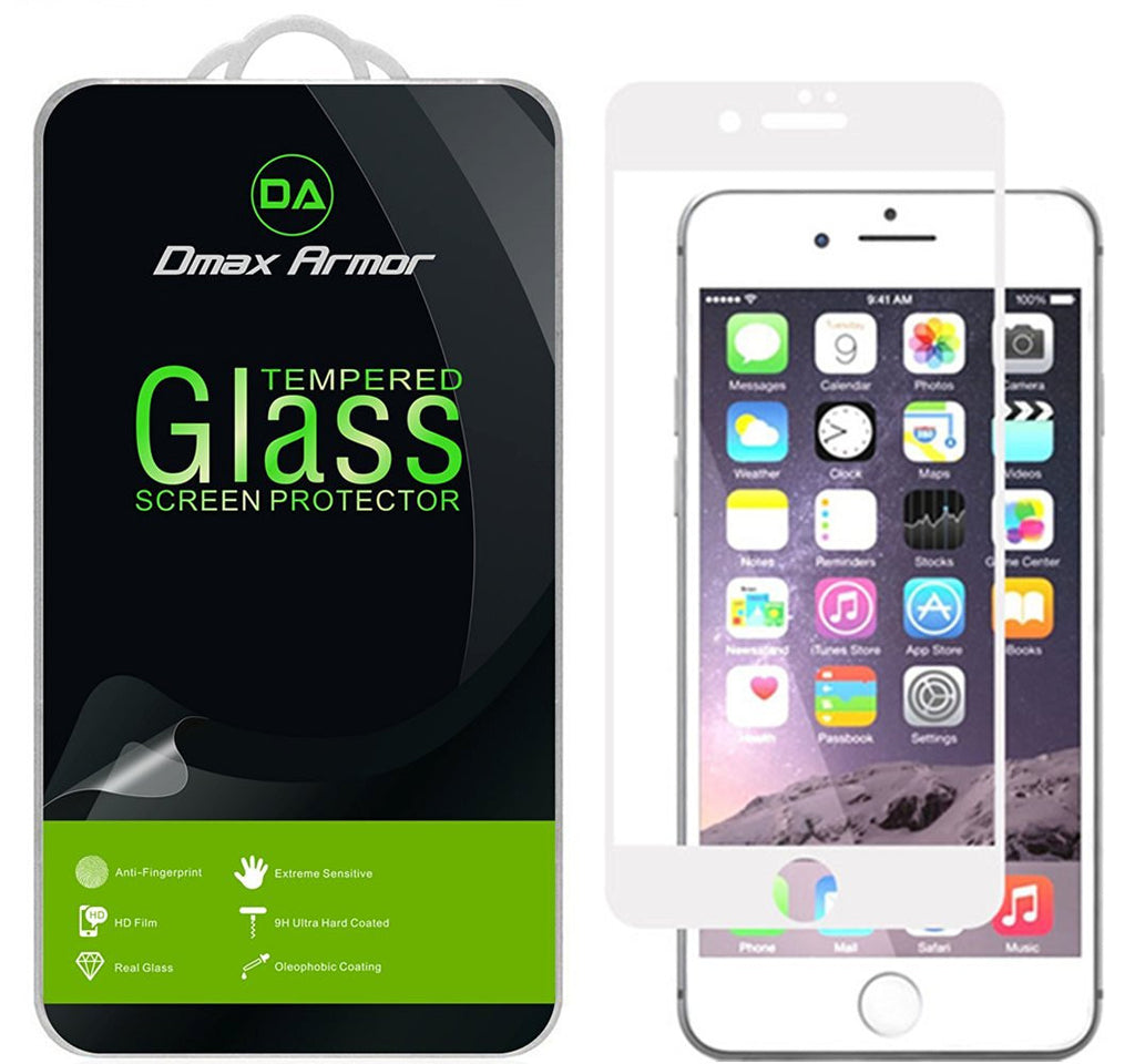 iPhone 7 Plus Glass Screen Protector, [Full Screen Coverage] Dmax Armor® [Tempered Glass] Anti-Scratch, Anti-Fingerprint, Bubble Free, (White)