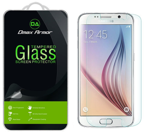 [2-Pack] Samsung Galaxy S6 Screen Protector, Dmax Armor® [Tempered Glass] 0.3mm 9H Hardness, Anti-Scratch, Anti-Fingerprint, Bubble Free, [ Lifetime Warranty]