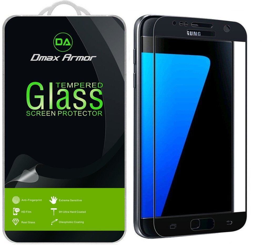 Samsung Galaxy S7 Glass Screen Protector, [Full Screen Coverage] Dmax Armor® [Tempered Glass] Anti-Scratch, Anti-Fingerprint, Bubble Free, (Black)