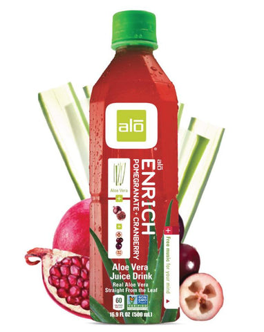 ALO Enrich Aloe Vera, Pomegranate & Cranberry 12 x 500ml - Fine Food Direct