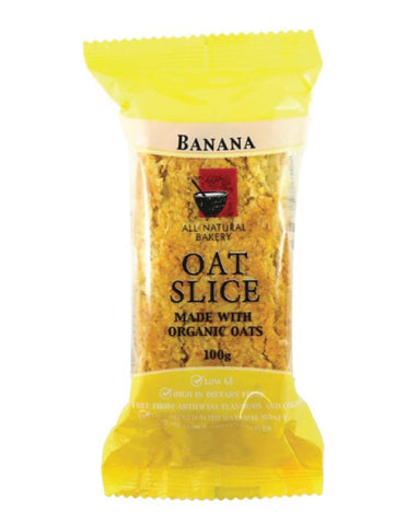 All Natural Bakery Organic Oat Slice Banana 14 x 100g - Fine Food Direct