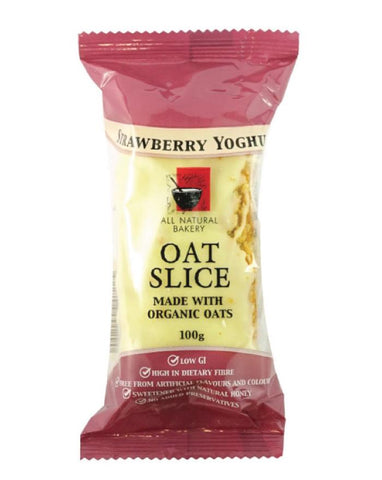 All Natural Bakery Organic Oat Slice Strawberry & Yoghurt 14 x 100g - Fine Food Direct