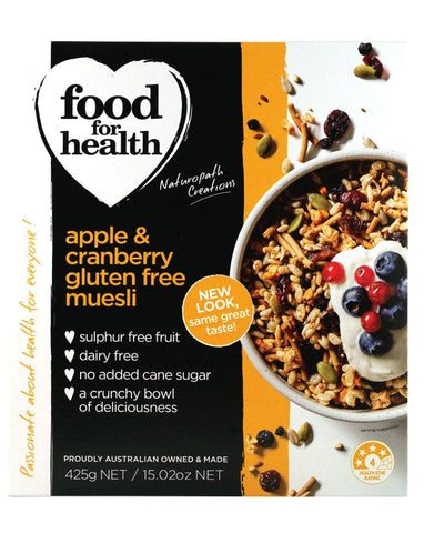 Food for Health Apple & Cranbery Gluten Free Muesli 425g - Fine Food Direct