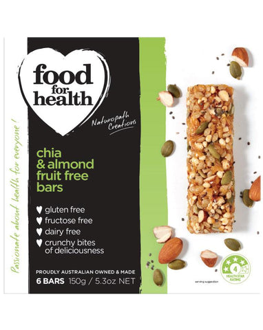 Food for Health Chia & Almond Fruit Free Bars 150g - Fine Food Direct