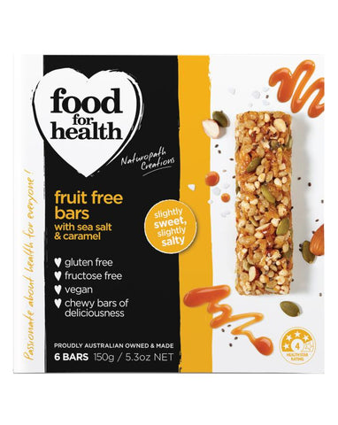 Food for Health Fruit Free Bars Sea Salt & Caramel 150g - Fine Food Direct