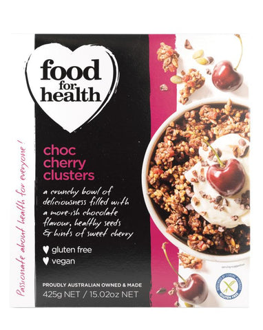 Food for Health Choc Cherry Clusters 425g