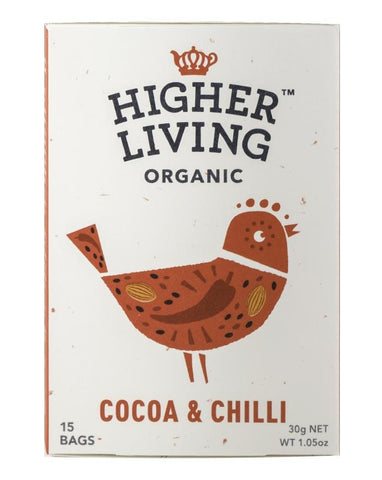 Higher Living Organic Cocoa Chilli (x15) 27g - Fine Food Direct