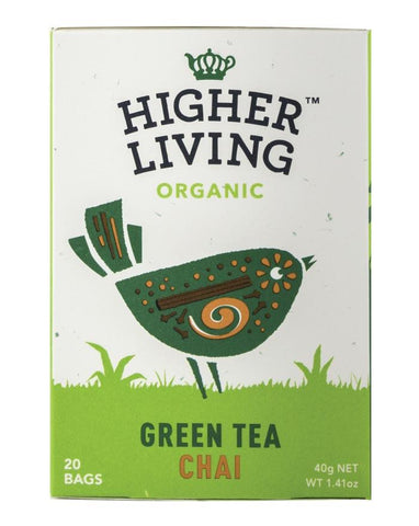 Higher Living Organic Green Tea Chai 3 x 40g - Fine Food Direct