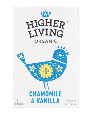Higher Living Organic Tea Chamomile & Vanilla 3 x 30g - Fine Food Direct