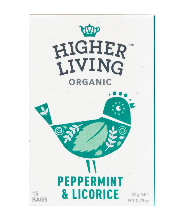 Higher Living Organic Tea Peppermint & Licorice 3 x 22g - Fine Food Direct