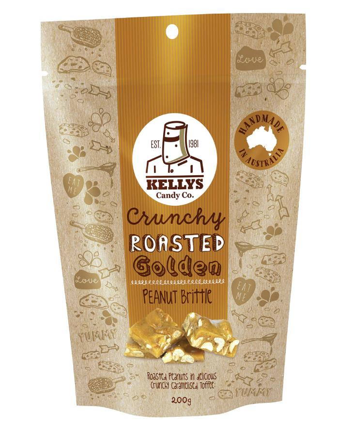 Kellys Candy Co Pouch Peanut Brittle 200g - Fine Food Direct