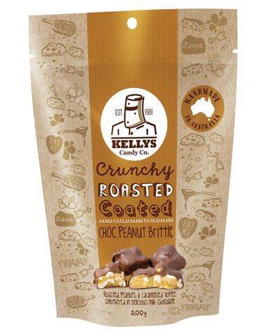 Kellys Candy Co Pouch Choc Peanut Brittle 200g - Fine Food Direct