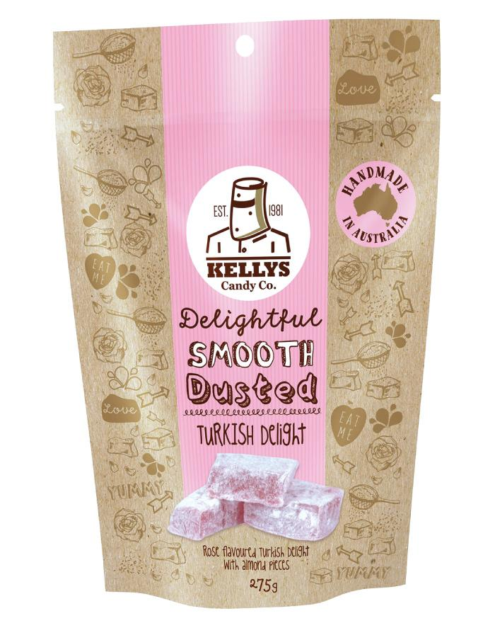 Kellys Candy Co Pouch Turkish Delight 275g - Fine Food Direct