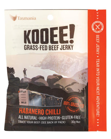 KOOEE! Grass Fed Beef Jerky Habanero Chilli 30g - Fine Food Direct
