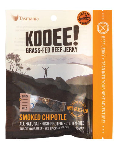 KOOEE! Grass Fed Beef Jerky Smoked Chipotle 30g - Fine Food Direct