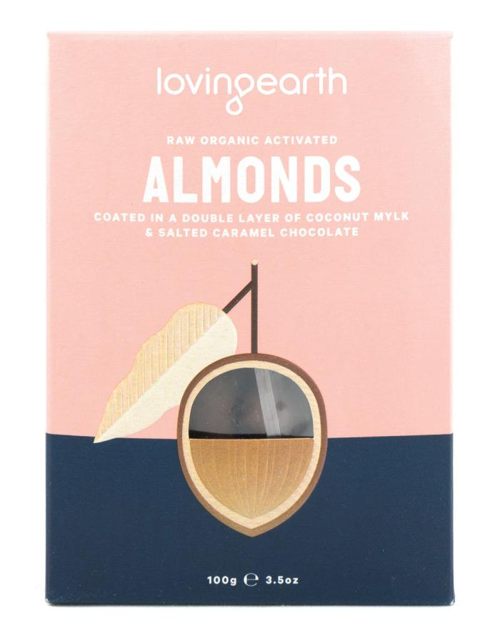 Loving Earth Organic Almonds in Mylk & Salted Caramel Choc 100g - Fine Food Direct