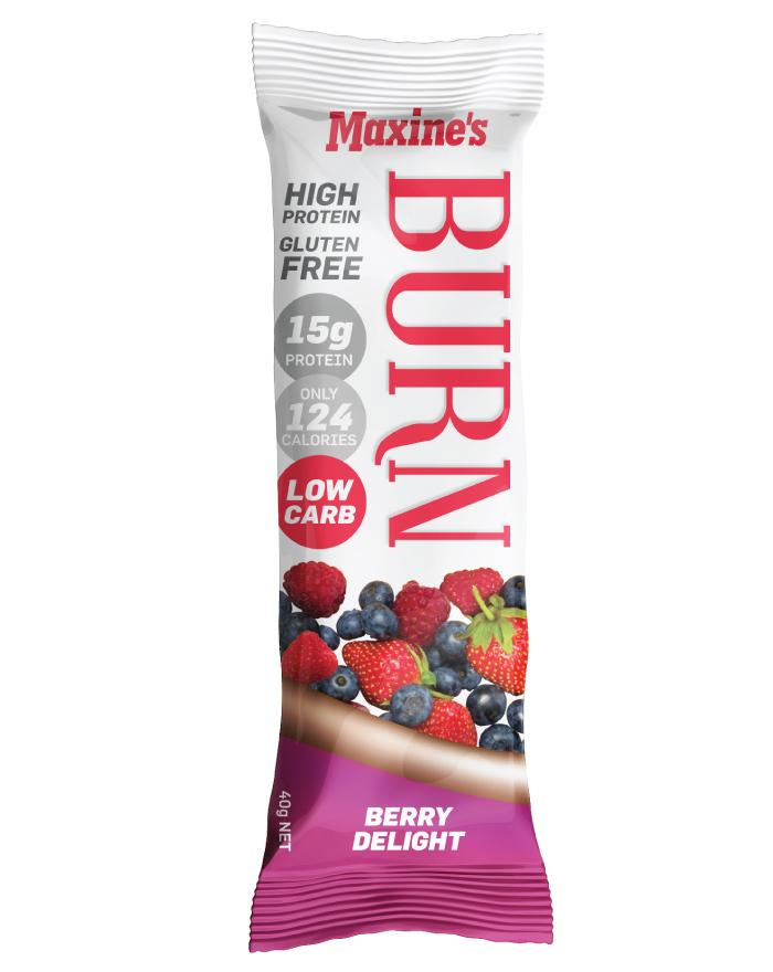 Maxine's Burn Bar Berry Delight 12 x 40g - Fine Food Direct