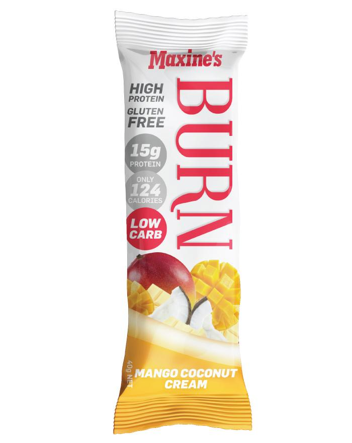 Maxine's Burn Bar Mango Coconut Cream 12 x 40g - Fine Food Direct