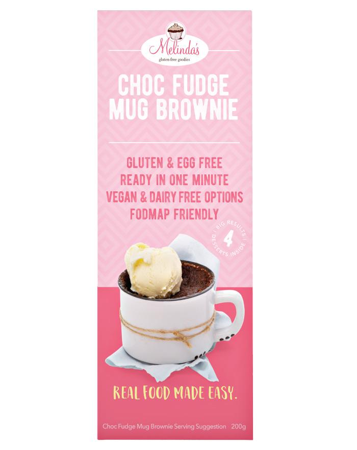 Melinda's Bakery Choc Fudge Mug Brownie 4x50g - Fine Food Direct