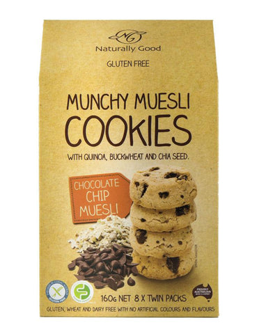 Naturally Good Munchy Muesli Cookies Chocolate Chip 160g - Fine Food Direct