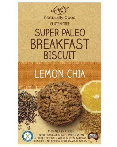 Naturally Good Super Paleo Breakfast Biscuit Lemon Chia 150g - Fine Food Direct